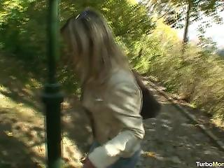 Seduced young mom with long legs is getting drilled in the park