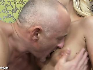 Slutty young blonde cheat on her boyfriend with an old man