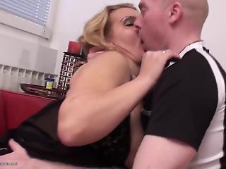 Sweet mom in black stockings enjoys hardcore anal sex and creampie loads