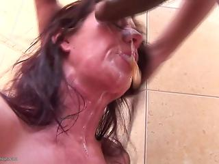 Lucky black dude brutally fucks a face of a lustful white MILF