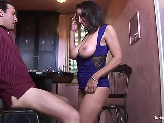 Elegant big-boobed cougar in purple dress enjoys hardcore sex