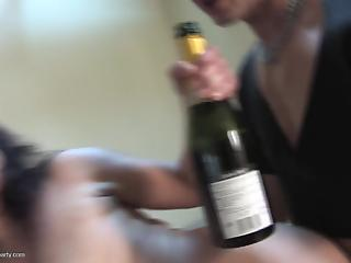 Reverse gangbang with four big-boobed housewives and a horny fucker