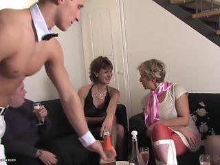 Fat mature sluts and one young man in reverse gangbang action