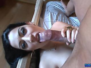 Glamorous big-boobed cougar with tattoos gives a deep blowjob