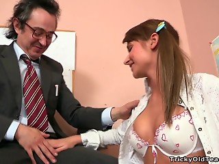 Sensual pigtailed brunette enjoys hardcore dick riding with teacher