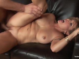 Big-boobed cougar with pierced nipples swallows cum after hot fuck