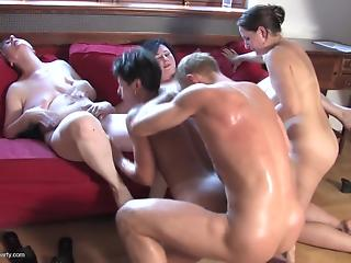 Lucky young man and sex-loving cougars in perfect sex party
