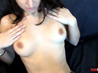 Lusty white MILF with cute tits rides a hard prick in cowgirl pose