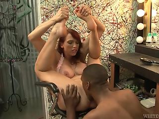Black man helps this sensual white MILF to cum much quicker