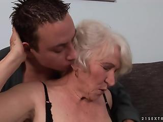 Old slut with hairy crack and huge jugs nailed by young man
