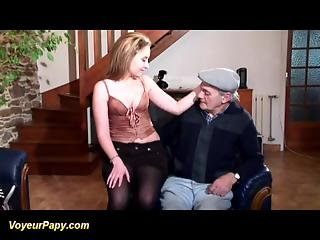Old man and young partner fuck one attractive bitch in turn