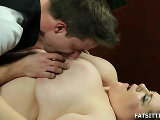 Fat brunette sits on face of young guy before real fun starts