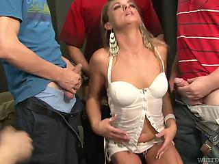 Three buddies gangbang slutty cutie near dude in wheelchair