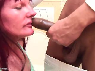 Red-haired MILF forced to throat and ride big dick in toilet