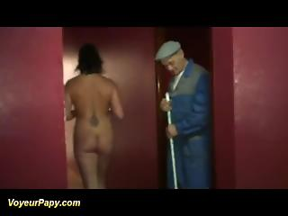Old janitor joins mature couple who is making love in sauna
