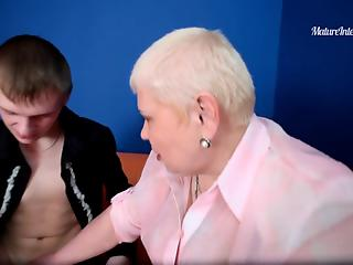Young boy analyzes short-haired BBW granny in several poses