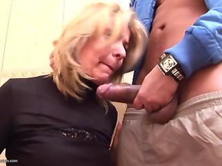 Latin bully brutally slams mature blonde in public toilet