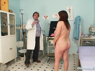 Gynecologist thrusts toys into both holes of mature patient