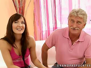 Old man gives comely stepdaughter lesson of good fuck