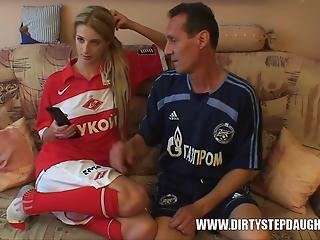 Teen and stepfather interrupt watching game to have quickie