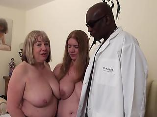 Awesome big-boobed mothers are screwing with a facial strapon