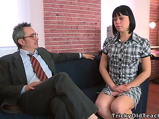 Dark-haired chick with trimmed crack rides on her own teacher