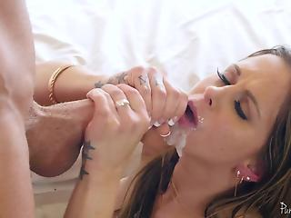 Glamorous goddess MILF swallows juicy dose of semen after sex