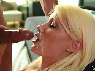 Bleached mother is swallowing tasty cum after hardcore sex