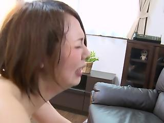 Stunning Asian MILF with hairy pussy rides a small brown cock