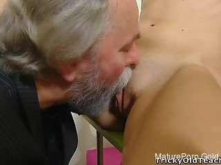 Small-tit Brunette slut and a grandpa in old & young XXX