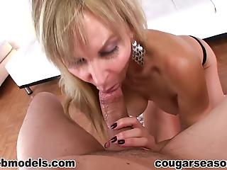 Blonde mom gives a professional blowjob and swallows the load