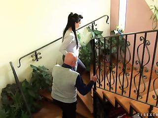 Skinny young mom with big boobs gets nailed by an old man