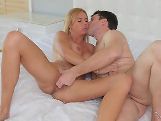 Extremely hot big-boobed mom received a messy load of tasty cum