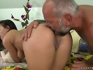 MILF with saggy natural boobs pleases old man in the bedroom