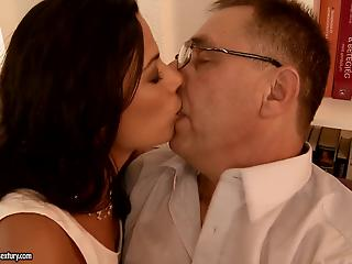 Skinny brunette in strings knows how to please a filthy old man