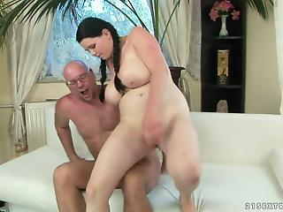 Pigtailed BBW brunette gets hardly pounded on the casting
