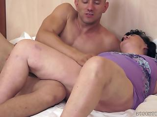 Fat mature BBW rides a loaded prick of a much young male