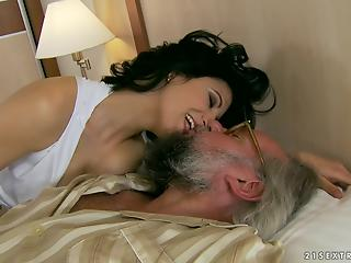 Lustful dark-haired MILF cheat on her hubby with an older man