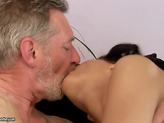Dick-loving amateur brunette gives a deep blowjob and gets nailed by old man