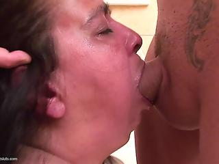 Chubby woman forced to give deepthroat blowjob in toilet