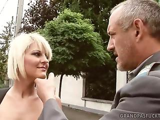 Blonde with awesome tits enjoys penetration with old man's dick