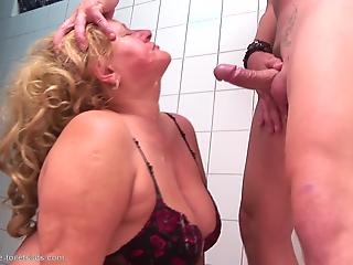 Fatty mature roughly fucked in mouth right in public toilet