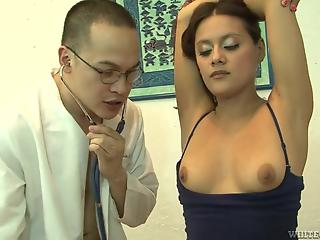 Doctor gives patient's twat careful examination in various poses