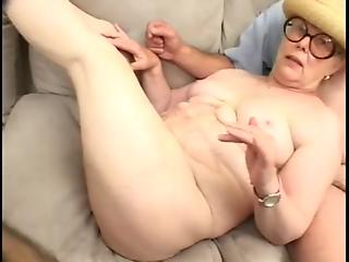 Three excited guys embark nasty group sex with dirty granny