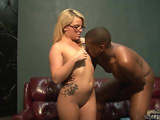 Blonde MILF with glasses blacked by youngster in several poses