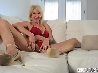 MILF is very happy because she has got vibrator for self-satisfaction