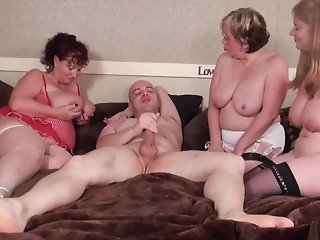 Bald stallion is lucky to fuck two busty matures and granny