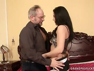 Old man fucks brunette's shaved twat after she licks his ass
