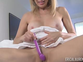Soloing mature blondie with huge tits grabs her lovely sex toy