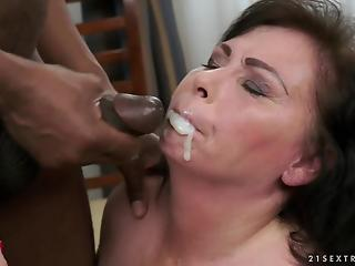 Chubby mature brunette eats tasty black semen after hardcore fuck